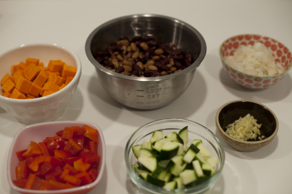 Vegan Sweet Potato Chili Mise en Place