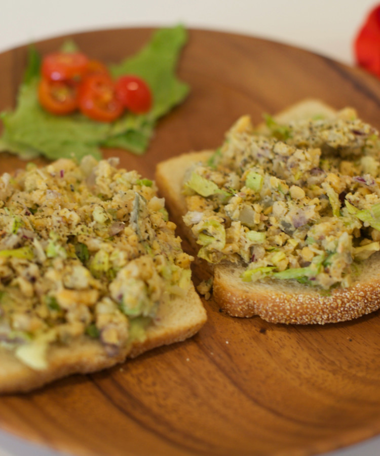 Mock Tuna Salad - Open-faced Sandwich